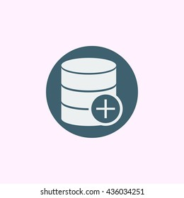 Vector illustration of database add sign icon on blue circle background.