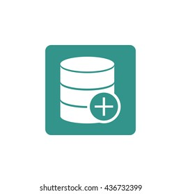Vector illustration of database add sign icon on green background.