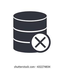 Vector illustration of database cancel sign icon on white background.