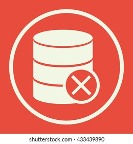 Vector illustration of database cancel sign icon on red background.