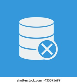 Vector illustration of database cancel sign icon on blue background.
