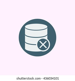 Vector illustration of database cancel sign icon on blue circle background.