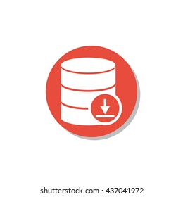 Vector illustration of database download sign icon on red circle background.