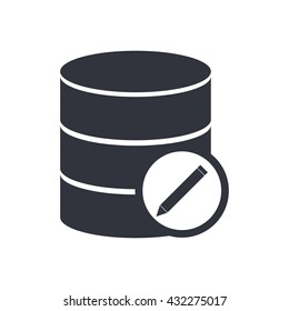 Vector illustration of database edit sign icon on white background.