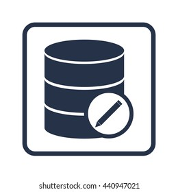 Vector illustration of database edit sign icon on blue round background.