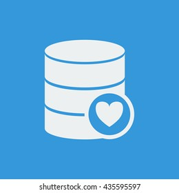 Vector illustration of database heart sign icon on blue background.