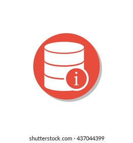 Vector illustration of database info sign icon on red circle background.