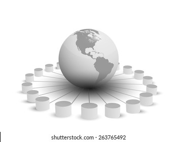 Vector illustration of database integration, different databases connecting globally