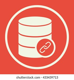 Vector illustration of database link sign icon on red background.