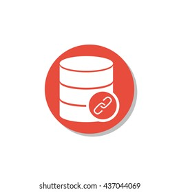 Vector illustration of database link sign icon on red circle background.