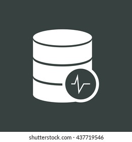 Vector illustration of database pulse sign icon on dark background.