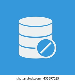 Vector illustration of database reject sign icon on blue background.