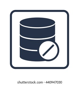Vector illustration of database reject sign icon on blue round background.