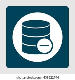 Vector illustration of database remove sign icon on blue background.