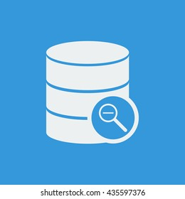Vector illustration of database zoom out sign icon on blue background.
