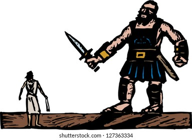 Vector illustration of David and Goliath