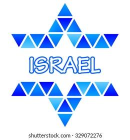 Vector illustration of David Star mosaic icon - Israel
