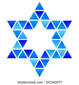 Vector illustration of David Star mosaic icon