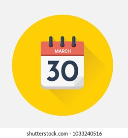 Vector illustration. Day calendar with date March 30, 2018. Good friday concept