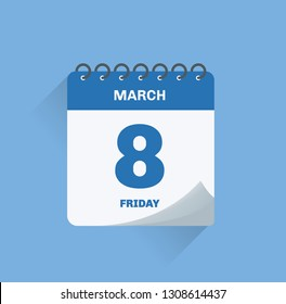 Vector illustration. Day calendar with date March 8.