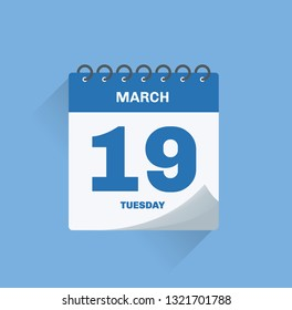 Vector illustration. Day calendar with date March 19.