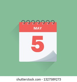 Vector illustration. Day calendar with date May 5.