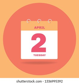 Vector illustration. Day calendar with date April 2.