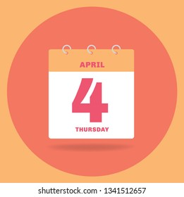 Vector illustration. Day calendar with date April 4.