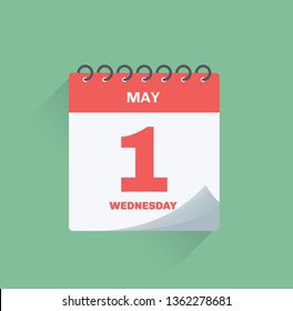 Vector illustration. Day calendar with date May 1.