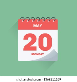 Vector illustration. Day calendar with date May 20.
