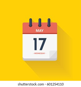 Vector illustration. Day calendar with date May 17, 2017. Yellow background