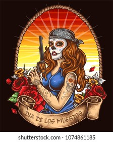 vector illustration of day of the dead chicano woman with banner roses and revolver