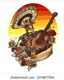 vector illustration of day of the dead skeleton playing a song with banner roses and guitar