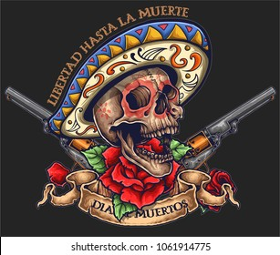 vector illustration of day of the dead skull with banner roses and revolver