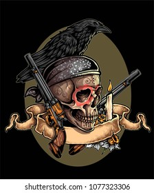 vector illustration of day of the dead skull with candle revolver banner and crow