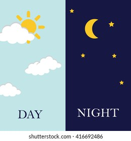 Vector illustration of day and night.