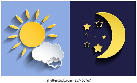 Vector illustration of day and night. 3d sun and moon. Vector eps10.