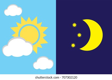 vector illustration of day and night background. moon and sun.