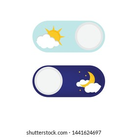 Vector illustration of day and night. Day night concept, sun and moon, day night icon. User Interface element - On Off switcher