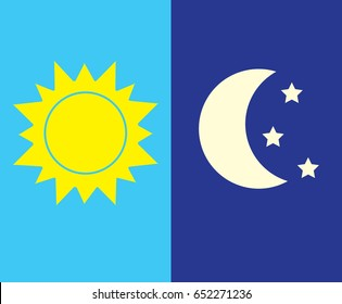 Vector illustration of day and night. Day and night concept, sun and moon, day and night clouds and stars icon.