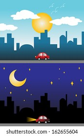 A vector illustration of day and night view of a modern city