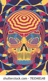A vector illustration of a dayglow neon psychedelic skull.  4 colors,  11x17 aspect ratio,  for all  your punk  rock,  hippie,  and raver needs.