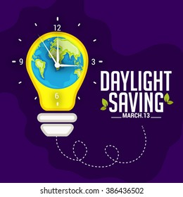 Vector illustration of  Daylight Saving Time on dark blue background with globe and time clock.
