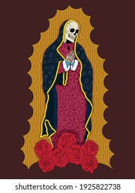 A vector illustration of a dead lady of Guadalupe with a roses and a floral patterned dress.