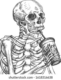Vector illustration of dead skeleton skull drinking coffee from paper takeaway cup through straw. Hot aroma drink passion. Vintage hand drawn style.
