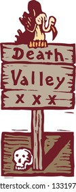 Vector illustration of Death Valley sign with vulture and skull