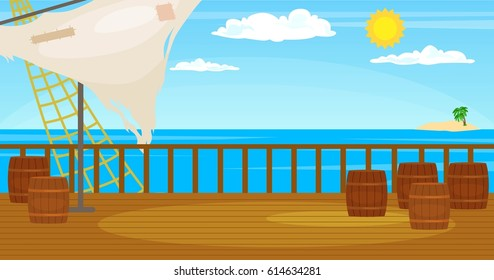 Vector illustration  of    Decks of the ship with a sail, barrels on the background of the ocean