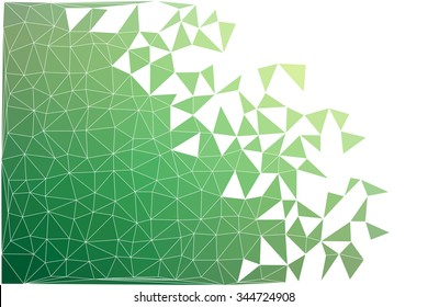 Vector and illustration of a decomposed and vanishing green background made of low polygon.
