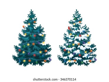 Vector illustration of decorated christmas tree in snow on white background. Blue fluffy christmas pine, isolated on white background 2.1