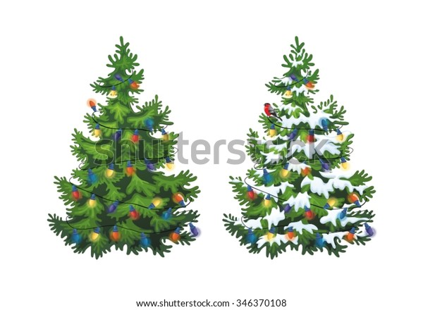 Vector illustration of decorated christmas tree in snow on white background. Green fluffy christmas pine, isolated on white background 1.1